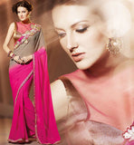 PINK & CHIKOO COLOR CASUAL WEAR SAREE RTAH912