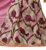 Magenta, pink and beige  Georgette and chiffon half model saree with off white and pink dupion embroidered butta designs on blouse