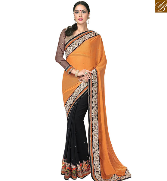 STYLISH BAZAAR ATTRACTIVE BLACK & MUSTARD COLORED HALF & HALF SAREE MHNRT9130