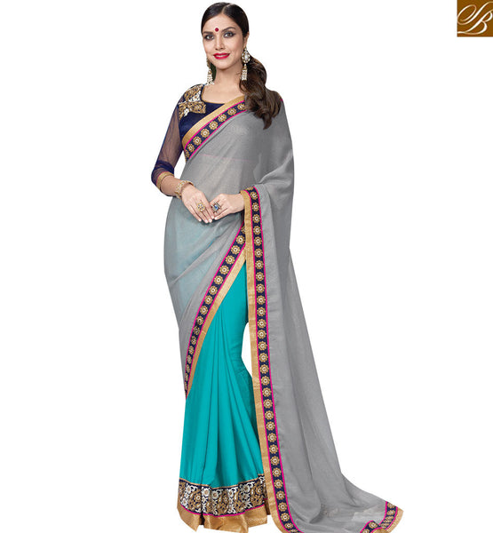STYLISH BAZAAR GOOD LOOKING GREY & RAMA COLORED SAREE WITH EYE CATCHING BORDER WORK MHNRT9131