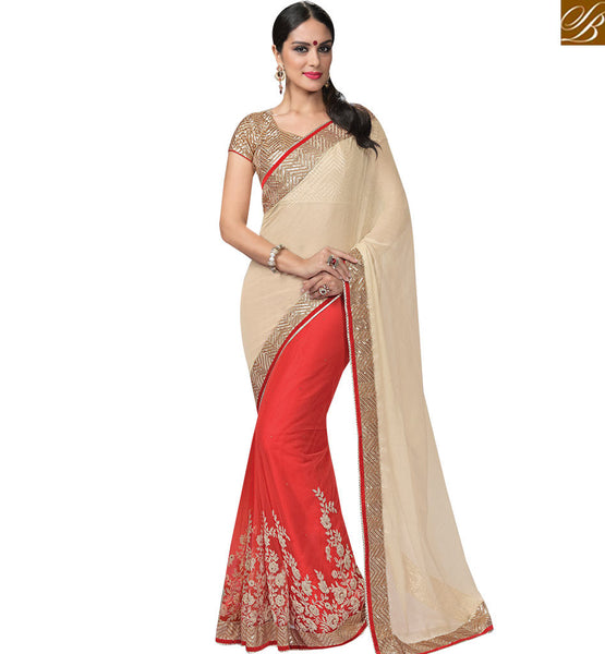 STYLISH BAZAAR BEAUTIFUL CREAM & RED COLORED DESIGNERS HALF & HALF SAREE MHNRT9132