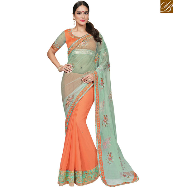 STYLISH BAZAAR TRENDY ORANGE & SEA GREEN COLORED HALF AND HALF SAREE MHNRT9133