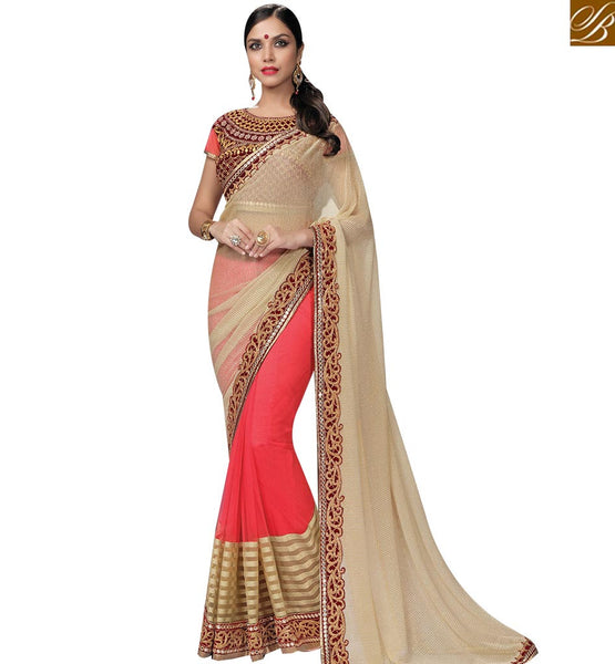 STYLISH BAZAAR RICH LOOKING RED & CHIKU COLORED DESIGNER SAREE WITH SPLENDID BORDER WORK MHNRT9134