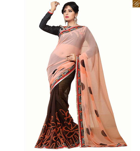 half & half Indian party wear new saree draping style of 2015