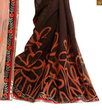 Abstract print on lower part and black & orange color print border line with zari embroidery border work saree pairing contrast black blouse with long sleeves, piping and neckline embroidery designs  Light orange and brown Georgette half and half Indian party wear saree having black dupion full sleeve with piping designs blouse