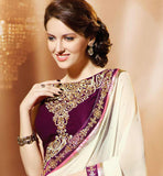 WHITE CHIFFON CASUAL WEAR SAREE RTAH914