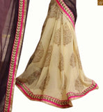 Purple, cream & georgette jacquard floral half and half printed saree with cream net full sleeve with piping designer blouse stylish blouse neck design for modern saree designer type patterns