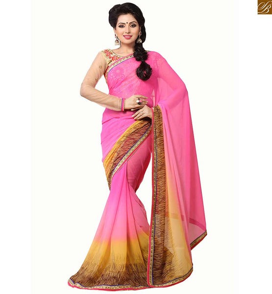 Trendy blouse neck designs latest style for womens saree dreams beautiful abstract print on border line and zari border shades style casual saree with floral embroidery on neck line and butti plus piping sleeves blouse designs