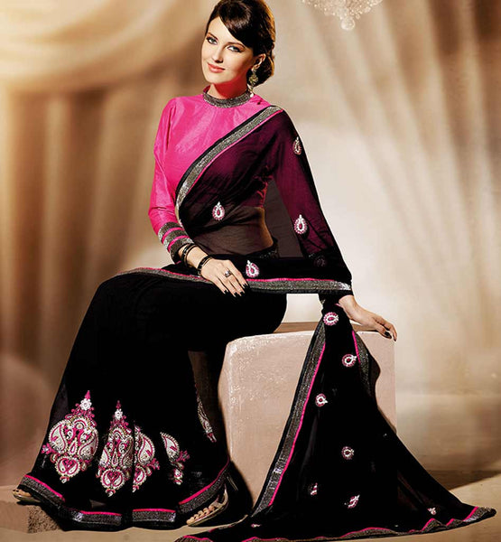 BLACK GEORGETTE CASUAL WEAR SAREE RTAH919