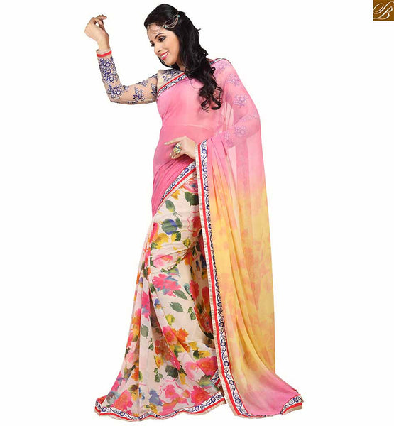 Stylish blouse design for awsome looking casual saree patterns half and half negative positive type multicolor floral print casual saree. Long sleeve with piping and embroidery butta worked beautiful blouse designs