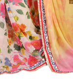 Pink, yellow and cream chiffon floral half and half printed indian wear saree with cream chiffon and net full sleeve with piping design on blouse stylish blouse design for awsome looking casual saree patterns