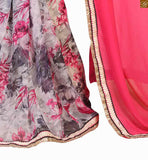 Pink and grey georgette floral print half and half saree with pink and grey dupion and net embroidered full sleeve blouse latest blouse neck designs looks pretty with latest saree patterns