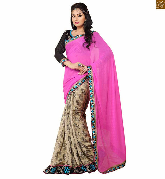 Dual style half and half saree of print and plain floral print on lower part with blue neon floral hand embroidery designs on border with contrast three fourth sleeves