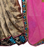 Pink & beige georgette, jacquard and cotton floral printed half and half saree with black dupion and georgette embroidered blouse model blouses with smart hand embroidery designs for sarees