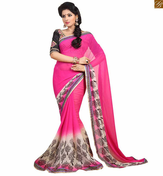 Latest blouse patterns new combination of drapy saree wear casual floral print on lower part with border line and zari border latest designs saree. Embroidered blouse on neck line and sleeves.