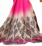 Pink and cream georgette beautiful floral print indian party wear saree with black dupion embroidered blouse latest blouse patterns new combination of drapy saree wear