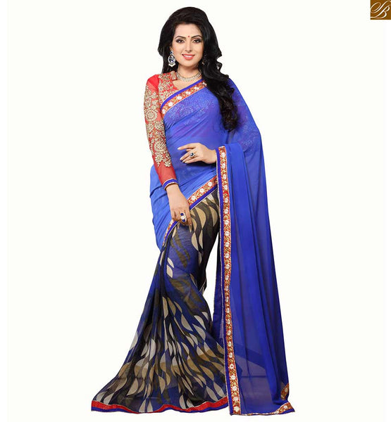 Modern blouse designs looks hot like new saree jacket models. Red dupion-net long sleeve and heavy embroidery collared contrast blouse and Blue Georgette Saree