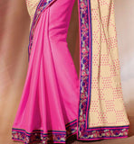 CREAM & PINK CASUAL WEAR SAREE RTAH925