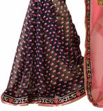 Cream, dusty pink and black chiffon half and half indian printed saree with black and silver brocket and net embroidered blouse latest blouse designs 2015 charming indian saree jacket patterns
