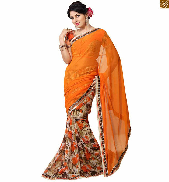 Orange chiffon-net embroidered Blouse designs catalogue type patterns for everstylish sarees gown, Orange & beige Georgette & chiffon amazing floral printed saree
