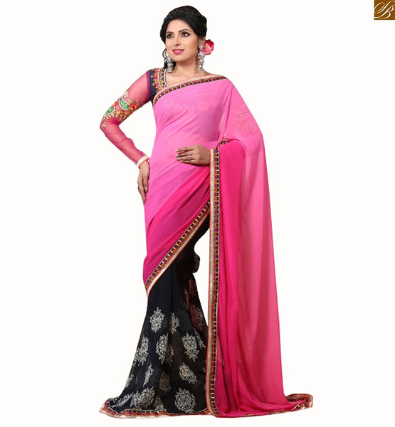 Blouse designs latest trendy style for south indian saree online twin stylish half and half print and plain on first part and shaded style on another part with contrast border on saree. It also consists of embroidered neck line and full sleeve blouse.