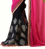 Pink and black georgette floral print half and half indian party wear saree with blue and pink dupion and net embroidered full sleeve blouse blouse designs latest trendy style for south indian saree online