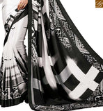 FROM STYLISH BAZAAR SPECTACULAR WHITE SAREE BLOUSE WITH BLACK PRINTS RTDVM9303