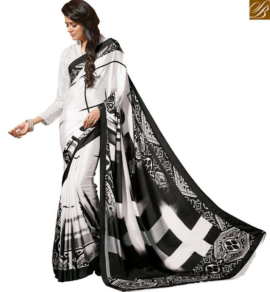 STYLISH BAZAAR SPECTACULAR WHITE SAREE BLOUSE WITH BLACK PRINTS RTDVM9303