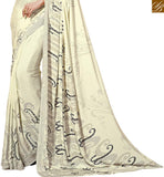 FROM STYLISH BAZAAR REMARKABLE CASUAL WEAR SARI WITH BLACK PRINTS RTDVM9304