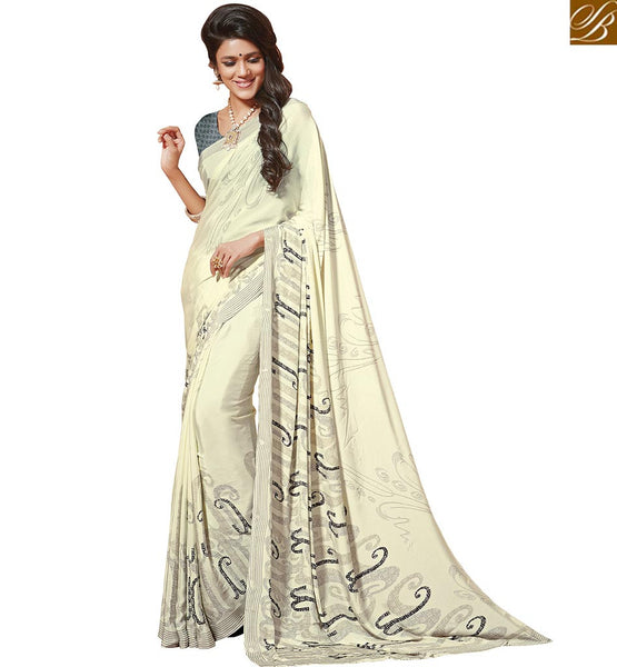 FROM THE HOUSE OF STYLISH BAZAAR REMARKABLE CASUAL WEAR SARI WITH BLACK PRINTS RTDVM9304
