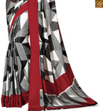 STYLISH BAZAAR PRESENTS OUTSTANDING WHITE ABSTRACT PRINT SAREE WITH RED BLOUSE RTDVM9305