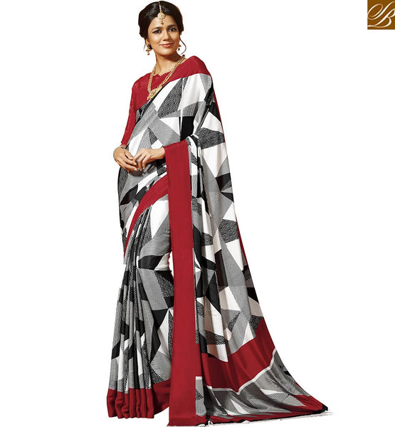 BROUGHT TO YOU BY STYLISH BAZAAR OUTSTANDING WHITE ABSTRACT PRINT SAREE WITH RED BLOUSE RTDVM9305