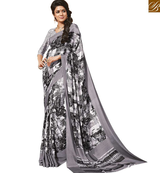 NOTABLE WHITE SARI ALONG WITH WHITE BLOUSE RTDVM9306