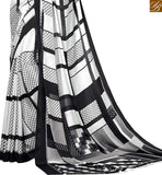 STYLISH BAZAAR PRESENTS ALLURING WHITE DESIGNER SARI WITH BLACK ABSTRACT PRINTS RTDVM9311