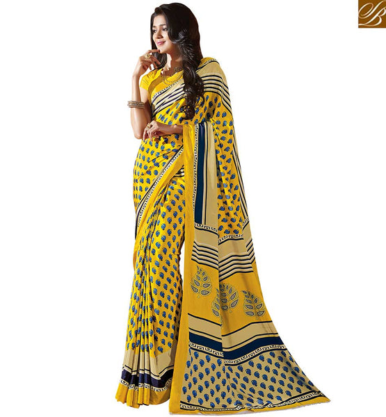 STYLISH BAZAAR STUNNING BLUE PRINTED SAREE BLOUSE RTDVM9314