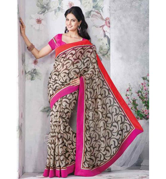 CLASSY CREAM PRINTED DESIGNER SAREE RTVT9321 - STYLISHBAZAAR - Designer Saris, Designer Sarees, Buy Online Sarees, Buy Sarees Online, Partywear Sarees, Designer Saris Online, Saree Online Shoppping, Saree Designs, Blouse Designs