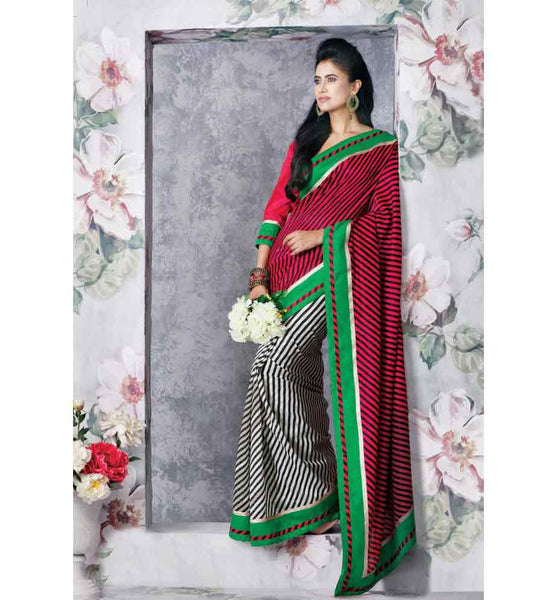 STYLISH STRIPES  ART SILK SAREE RTVT9330 - stylishbazaar - buy online india, chic outlet shopping, dresses for women, formal dresses for women, online clothes shopping, online clothes shopping india, Saris, Sarees, Buy Online Sarees, Buy Sarees Online, Partywear Sarees, Designer Saris, Saree Online Shoppping, Saree Designs, Blouse Designs