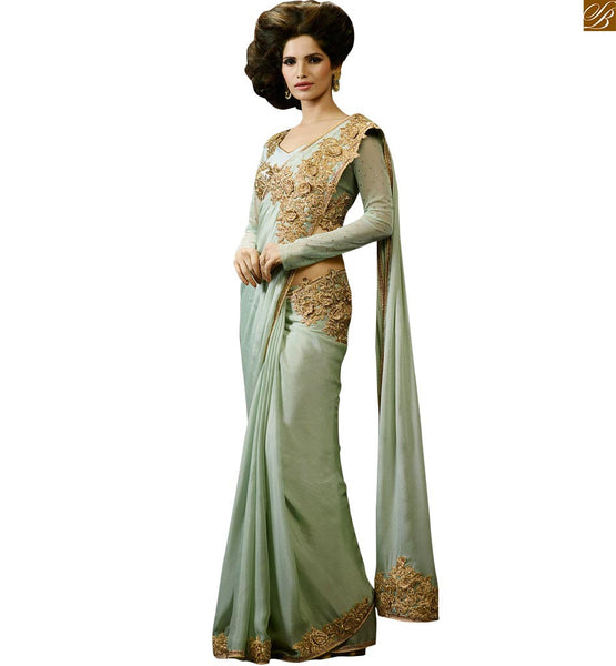 LOVELY SEA GREEN DESIGNER PARTY WEAR SARI RTHYC9405 FROM STYLISH BAZAAR
