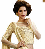 GORGEOUS CREAM EMBROIDERED DESIGNER SARI WITH CREAM BLOUSE FOR PARTY WEAR RTHYC9407