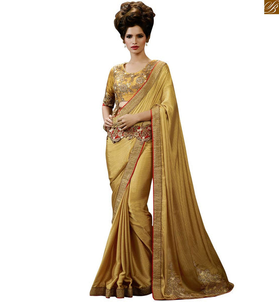 STYLISH BAZAAR ENTICING BEIGE DESIGNER SAREE MATCHED WITH LOVELY BLOUSE RTHYC9408