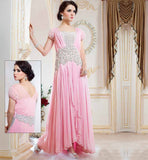LATEST GOWN DESIGN FROM STYLISH BAZAAR COLLECTION  PURE GOERGETTE MATERIAL PINK COLOR MOVIE STYLE GOWN