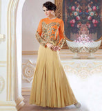 DESIGNER EVENING GOWNS ONLINE SHOPPING IN INDIAN  OFF WHITE COLOR KAMEEZ WITH MATCHING SANTOON BOTTOM, INNER AND NAZNEEN DUPATTA