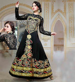 BUY PREMIUM QUALITY GOWNS ONLINE AT BEST RATES INDO WESTERN STYLE BEWITHCHING BLACK PURE VISCOSE DESIGNER GOWN