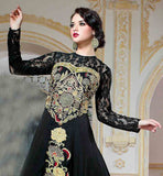 INDO WESTERN STYLE BEWITHCHING BLACK PURE VISCOSE DESIGNER GOWN THIS PHENOMENAL DRESS HAS LOVELY DESIGN ON NECKLINE AND AND SLEEVES WITH NET MATERIAL AND SUPERB EMBROIDERY ON NECKLINE AND WAIST. THE HEMLINE HAS LOVELY FLORAL DESING AND BROAD BORDER PATTERN