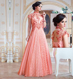 EXCLUSIVE GOWNS TO WEAR AT WEDDING FUNCTIONS FUSION STYLE PURE GEORGETTE MATERIAL DUSTY PINK COLOR GOWN