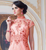 FUSION STYLE PURE GEORGETTE MATERIAL DUSTY PINK COLOR GOWN EXCITING GOWN WITH ALLURING BANDGALA PATTERN AND EMBROIDERY WORK ON NECK, SLEEVE AND BACK SIDE