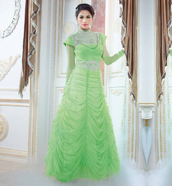 BUY ONLINE UNIQUE DESIGN GOWN FOR INDIAN WOMEN  GORGEOUS LIRIL GREEN NET MATERIAL GOWN