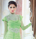 GORGEOUS LIRIL GREEN NET MATERIAL GOWN  THIS WONDERFUL OUTFIT HAVING METALLIC SILVER SHADE ADORNMENTS & DIAMOND BEADS (MOTTI) WORK ON NECK LINE AND WAIST SECTION SERIES ALONG WITH LOVELY PLEATS EVERYWHERE OVER THE OUTFIT