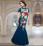 EVENING DRESSES WITH STYLISH SLEEVES DESIGN  BEAUTIFUL PURE GEORGETTE BLUE GOWN