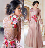 STYLISH BAZAAR DESIGNER LONG SLEEVE EVENING GOWNS LOVELY PINK COLOR NET MATERIAL GOWN TO WEAR AT SPECIAL OCASSIONS